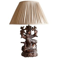 19th Century Black Forest Table Lamp with Carved Doe and Fawn