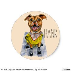 Pit Bull Dog in a Rain Coat Watercolor Painting Customizable Sticker. Available at Zazzle.