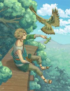 Link (before he finds out he is the hero from legend) calling a hawk with his whistling grass