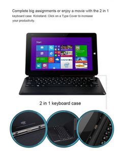 "2 IN 1 pc tablet 10.6"" Chuwi VI10 dual boot quad core wifi 2G 64G win 8.1/ window 10 + Android 4.4 HDMI Z3736F"