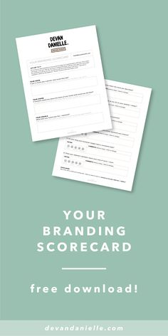 Your (free + editable) Branding Scorecard, by Devan Danielle — Your logo is not your brand. It's just a tiny piece of what helps make your brand + business successful. There are so many other key elements that play a factor in the overall success of your brand, and you need to know how to execute all of those pieces. The three main elements I teach my clients about when it comes to establishing your overall brand are: your voice, your vision, and your visuals. Score your brand!