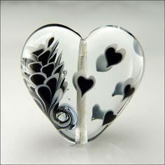 Lampwork Black & White Hearts and Flowers Bead by Beads by Stephanie, via Flickr