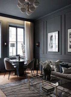 Black Design for an apartment of two room of - planete deco a homes world Apartment Interior, Living Room Interior, Home Living Room, Living Room Decor, Home Room Design, Living Room Designs, House Design, Modern Living Room Design, Casa Milano