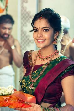 South Indian Bridal Fashion - We Inspire South Indian Bride Each Month South Indian Weddings, South Indian Bride, Indian Bridal, Asian Bride, Bridal Looks, Bridal Style, Saree Wedding, Wedding Bride, Wedding Wear