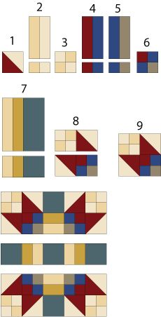 Quilt Block Patterns: Use Color and Contrast to Change Layout: Sew the Game Cocks Patchwork Quilt Block