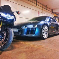 Having a hard time deciding what to drive tonight... #bike vs #supercar  #hardtimes #choices