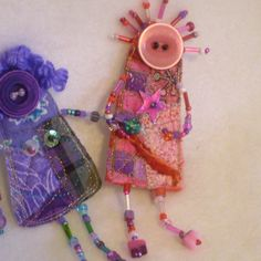 Lola Red and pink Whymsies quilted beaded DOLL by MarjorieDade, $22.00