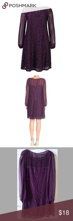 """Taylor Chiffon & Lace Special Occasion Dress Taylor Chiffon& Lace Long-Sleeve Special Occasion Shift Dress Size 10:  Ruched bateau neckline.  Color:  Eggplant.  Bodice sleeves:  polyester, lace, cotton, and nylon.  Measurements:  Bust 36""""/Waist 36""""/Hips 36""""/Length 36""""/Sleeve Length 22"""".   Wore once and in good condition. CARE:  Hand wash cold.  Wash colors separately. Do not bleach.  Do not tumble dry.  Line dry.  Cool iron. Taylor Dresses Midi"""