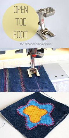 Do you love to use decorative stitches? How about appliqué? If so, then you need a Satin Stitch/Open Toe Foot. The groove on the back makes it perfect for sliding over dense stitches.  - The Seasoned Homemaker