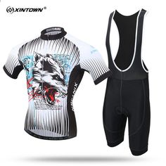 XINTOWN Jachetă cu mânecă scurtă Ciclism Jersey Set MTB Bicicletă de vară  Jachete de biliard de vară pentru bărbați Pulovere de lupi Maillot Ropa  Ciclismo 359846d40
