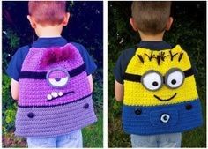 Pack pattern by Heidi Yates Ravelry: Movie Pack with Minions, Monsters and Mouse pattern by Heidi YatesRavelry: Movie Pack with Minions, Monsters and Mouse pattern by Heidi Yates Crochet Crafts, Crochet Yarn, Crochet Toys, Crochet Projects, Minion Bag, Minion Backpack, Minions Minions, Love Crochet, Crochet For Kids