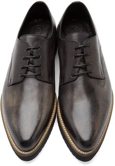 McQ Alexander McQueen Black Distressed Leather Creepers