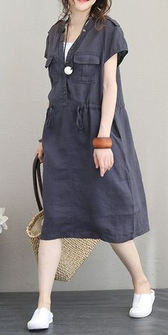 Fabric: Fabric has no stretchSeason: SummerType: Dress Sleeve Length: Short sleeveColor: Gray,Coffee Material: Cotton and LinenDresses Length: Knee lengthStyle: Casual Neck Type: V Neck Silhouette: Loose Size: cm,Shoulder cm cm,Shoulder cm Linen Dresses, Women's Dresses, Casual Dresses, Casual Outfits, Fashion Dresses, Cute Outfits, Summer Dresses, Casual Clothes, Summer Outfits