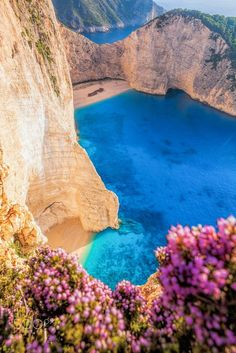 Navagio beach with shipwreck and flowers on Zakynthos island in Greece- - Grecia - Grèce - Ελλάδα - Griechenland - ギリシャ - 그리스 Dream Vacations, Vacation Spots, Places To Travel, Places To See, Travel Destinations, Greece Destinations, Places Around The World, Around The Worlds, Greece Islands