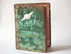 Retro photo album Soviet green faded brown velvet by SovietEra