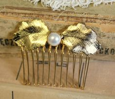 Aphrodite Gold and pearls hair comb Bridal hair comb  by iloniti, $32.00