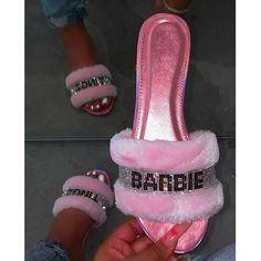 Okurrr Slippers, Bridesmaids, Barbie Tingz Pink Slides, Gold Digger Rhinestone Fur Flip Flops US Shoe Size (Women's): US 5 - US 11 Cute Sandals, Cute Shoes, Me Too Shoes, Glitter Sandals, Womens Slippers, Womens Flats, Fluffy Sandals, Pink Slides, Cute Slippers