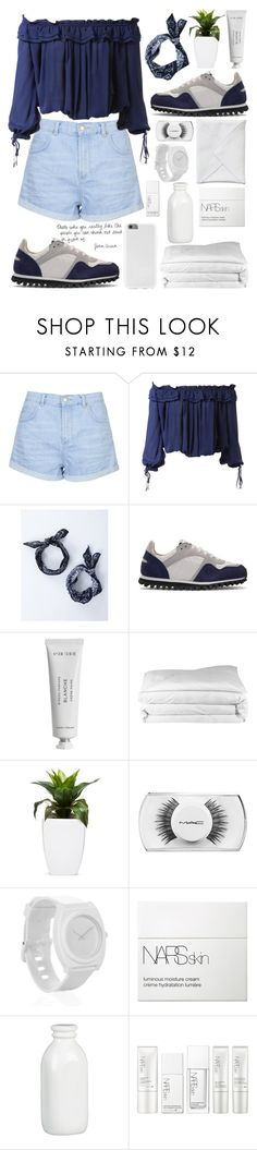 """""""blue💙"""" by groovybeauty ❤ liked on Polyvore featuring Topshop, Dsquared2, Spalwart, Byredo, Frette, MAC Cosmetics, Nixon, NARS Cosmetics, Crate and Barrel and fashionology"""