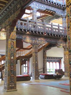 Zhiwa Ling Hotel, Bhutan. The architecture is almost dream like. I stayed in a room on the beautiful grounds and the Local Bhutan architecture is present in  all rroms. Gorgeous
