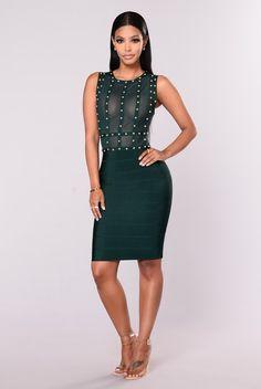 Diana studded Dress - Hunter