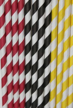 30 Mickey Mouse Inspired Mixed Striped Paper Straws. $10.00, via Etsy.