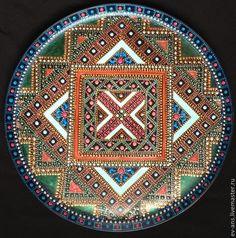 Купить Блюдо декоративное Еdge - чёрный, бронза, геометрический орнамент, восточный стиль, точечная роспись