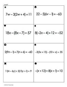 Simplifying Linear Expressions Worksheet