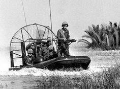 South Vietnam, April 17, 1968: A 9th Infantry Division airboat glides through the water near Nha Be, an area said to be used by the Viet Cong in organizing attacks on Saigon. The airboats, which could travel at speeds up to 40 knots, were used in shallow waters similar to those where the boats are most commonly found, in Florida's Everglades.