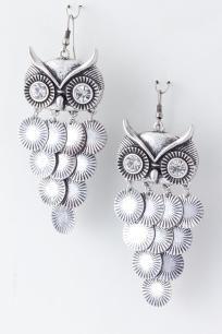 Silver Tone Crystal Owl Dangle Chandelier Earrings Free Shipping