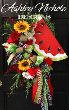 Watermelon Spring/Summer Wreath by DesignsAshleyNichole on Etsy https://www.etsy.com/listing/229119061/watermelon-springsummer-wreath