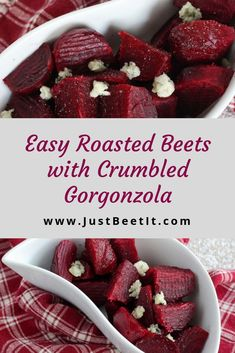 Easy Roasted Beets with Crumbled Gorgonzola Beet Recipes Healthy, Veggie Recipes, Cooking Recipes, What's Cooking, Drink Recipes, Healthy Food, Canapes Recipes, Yummy Appetizers, Veggie Side Dishes