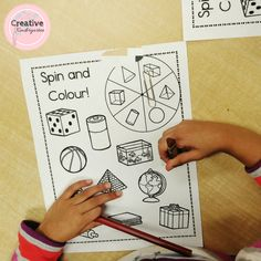 Spin and Colour 3D shapes game and activities. Kindergarten math center to practice and review 3d shapes with this fun, hands-on worksheet