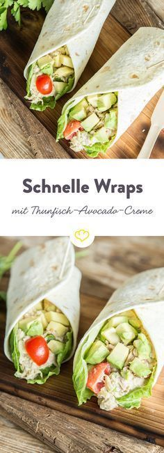 Schnelle Tuna-Rolle: Wraps mit Thunfisch-Avocado-Creme Tuna cream is one of the most popular fillings for fresh wraps. With avocado lettuce, tomatoes, celery and herbs, a round thing. Avocado Creme, Tuna Avocado, Avocado Toast, Avocado Salat, Avocado Wrap, Avocado Recipes, Sandwich Recipes, Snack Recipes, Healthy Snacks