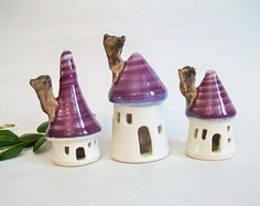 Fairy Houses -Set of 3- White Houses with  Plum/Purple  Roofs
