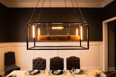 Image result for hanging light with beams