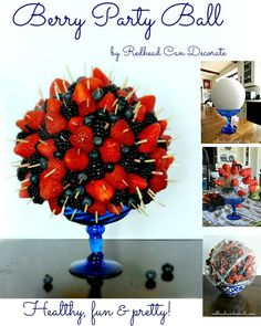 This pretty Berry Party Ball will be a huge hit at your next party! Fruit Recipes, Cooking Recipes, Tapas, Fruit Decorations, Fruit Displays, Edible Arrangements, Cute Food, Appetizers For Party, Food Presentation