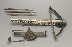 Crossbow with key/winder & 3 bolts Germany, century Medieval Crossbow, Medieval Weapons, Crossbow Bolts, Hand Crossbow, Types Of Bows, Survival Weapons, Survival Gear, Tactical Survival, Martial Arts Weapons
