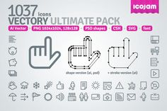 Check out 1037 icons in Vectory Ultimate Pack by Icojam on Creative Market