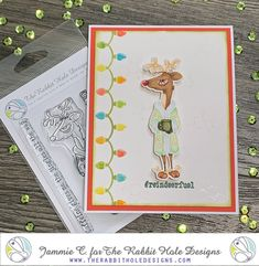 The little guy looks like he had a rough night last night! Image from The Rabbit Hole Designs colored in Copic Markers by Jammie Clark of Sweet Sentiment. Rabbit Hole, Copic Markers, Caffeine, Reindeer, Card Ideas, Stencils, Card Making, Stamp Card, Sweet