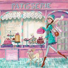Fashion Illustration Ideas Patisserie Print By Caroline Bonne-muller - Art And Illustration, Illustration Mignonne, Decoupage, Art Fantaisiste, Images Vintage, Paris Theme, Pics Art, Whimsical Art, Afternoon Tea
