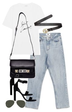 """""""Untitled #4414"""" by theeuropeancloset on Polyvore featuring Paige Denim, Yves Saint Laurent, Proenza Schouler, Gucci and Ray-Ban"""