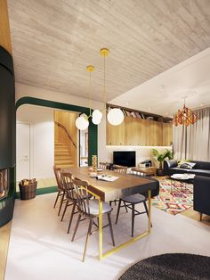 Rich greens and light woods, plant accents, natural light, and unique fixtures in an open floor plan make this contemporary apartment feel fresh and lively. Antique Living Rooms, Living Room Art, Living Room Modern, Dining Rooms, Modern Apartment Design, Contemporary Apartment, Futuristisches Design, Deco Design, Architecture Design