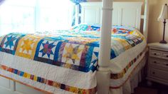 Handmade Beach Quilt- Handmade Quilt with Stars Queen Size- Batik Quilts for Sale by stylinquiltdesigns on Etsy https://www.etsy.com/listing/184765672/handmade-beach-quilt-handmade-quilt-with