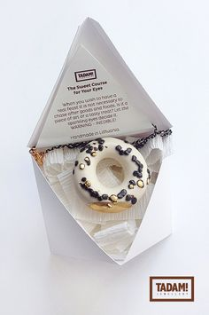 Milky Mini Donut with Chocolate and Golden Bits - modern handmade ceramic pendant with gold over sterling silver or black mix chain