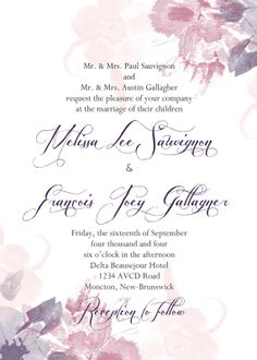 Watercolor Floral Wedding Invitation by Classicology on Etsy, $15.00