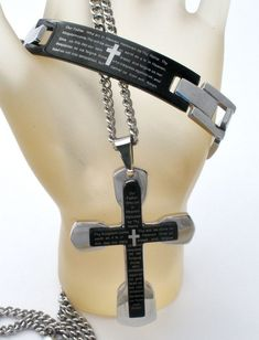 Lord's Prayer Cross Necklace & Bracelet Set Black Stainless Steel Men's Jewelry   Jewelry & Watches, Fashion Jewelry, Jewelry Sets   eBay!