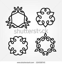 Set of simple and graceful monochrome monogram design templates, Elegant lineart logo design elements, vector illustration - stock vector
