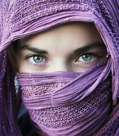 Beautiful in PURPLE - scarf sacred ultraviolet violet lilac grape Portrait Photos, Portrait Photography, Fashion Photography, White Photography, Purple Haze, Shades Of Purple, Periwinkle, 50 Shades, Beautiful Eyes