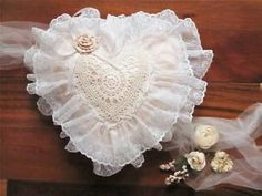 """Peach White Lace Heart Accent Throw Pillow Shabby Chic Victorian Decor 18"""" 