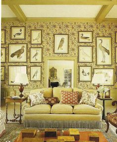 Really like all the pictures of different birds, frame sizes against the wallpaper and the fringe on the couch and pillows!